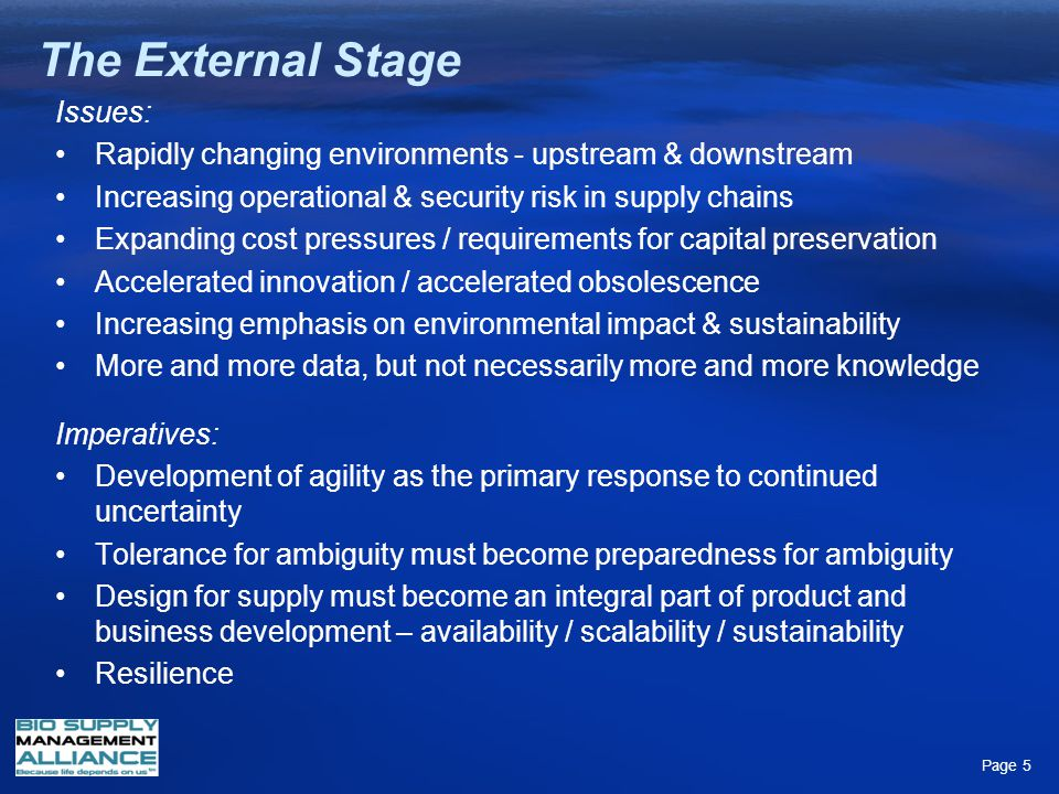 The External Stage Issues: