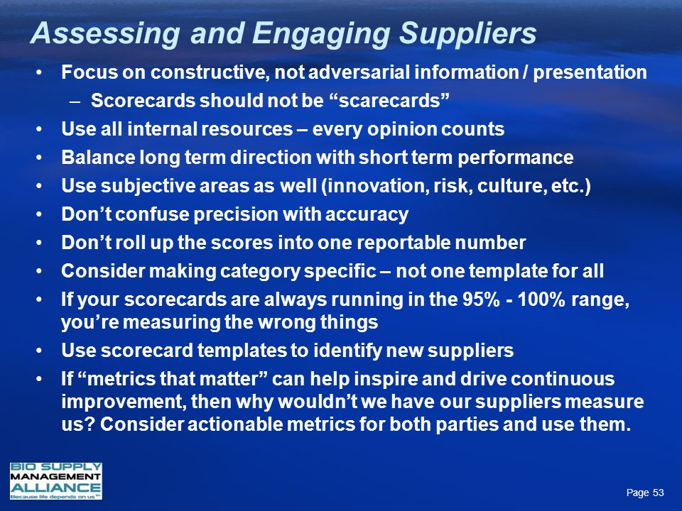 Assessing and Engaging Suppliers