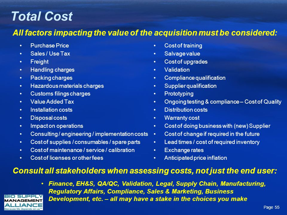 Total Cost All factors impacting the value of the acquisition must be considered: Purchase Price. Sales / Use Tax.