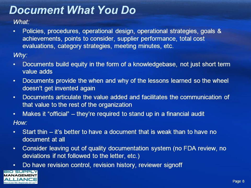 Document What You Do What: