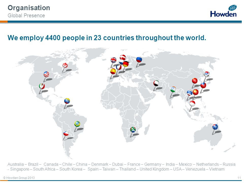 We employ 4400 people in 23 countries throughout the world.