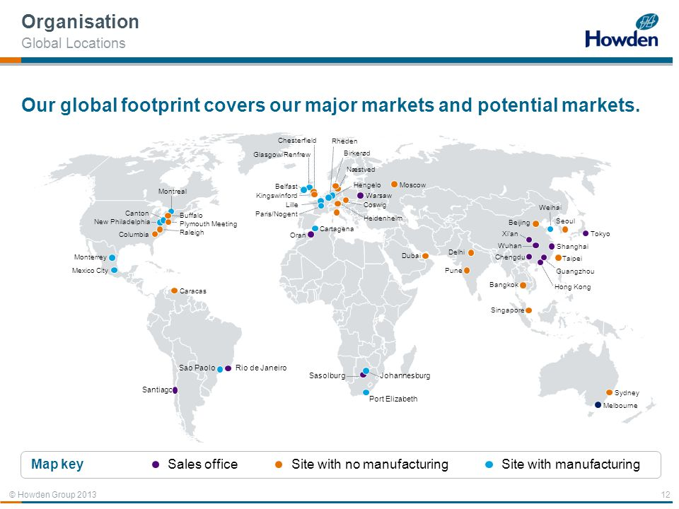Our global footprint covers our major markets and potential markets.