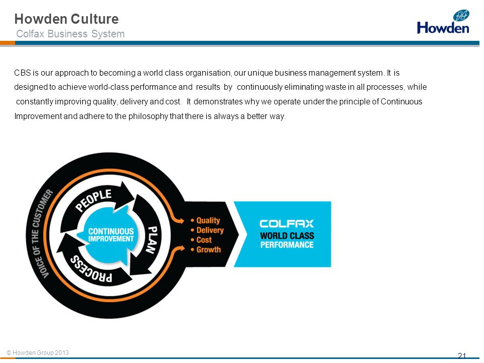 Howden Culture Colfax Business System