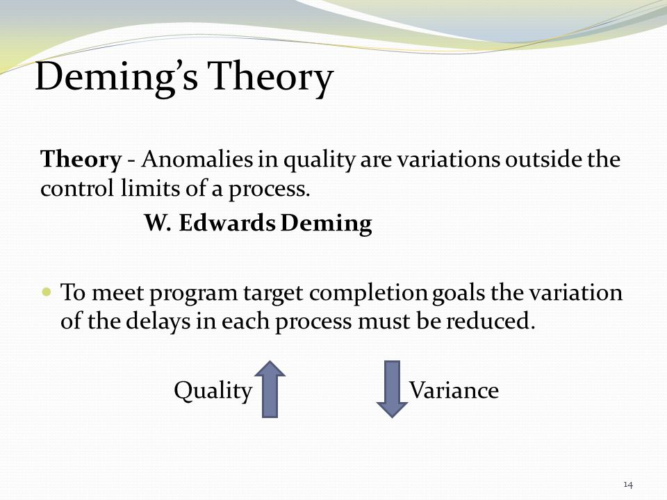 Deming's Theory Theory - Anomalies in quality are variations outside the control limits of a process.