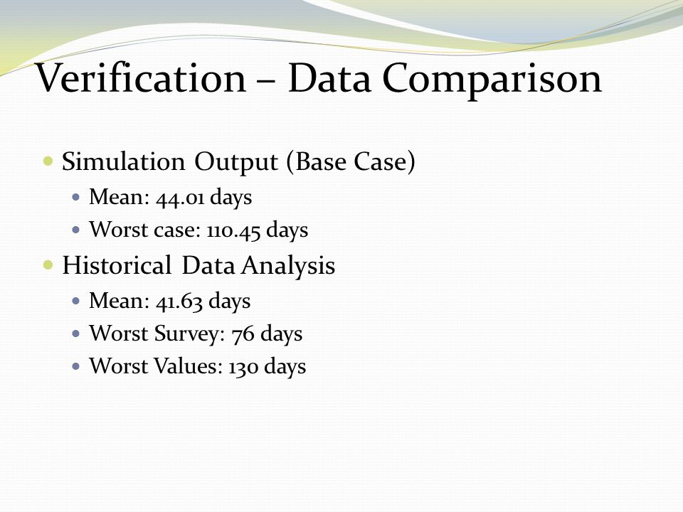 Verification – Data Comparison