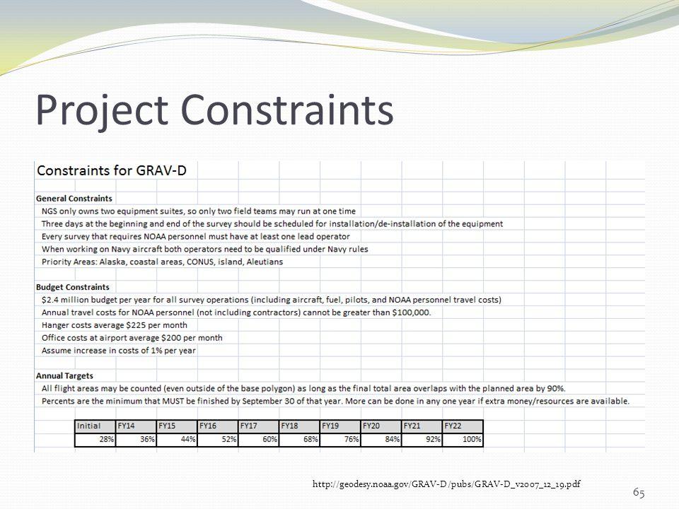 Project Constraints http://geodesy.noaa.gov/GRAV-D/pubs/GRAV-D_v2007_12_19.pdf