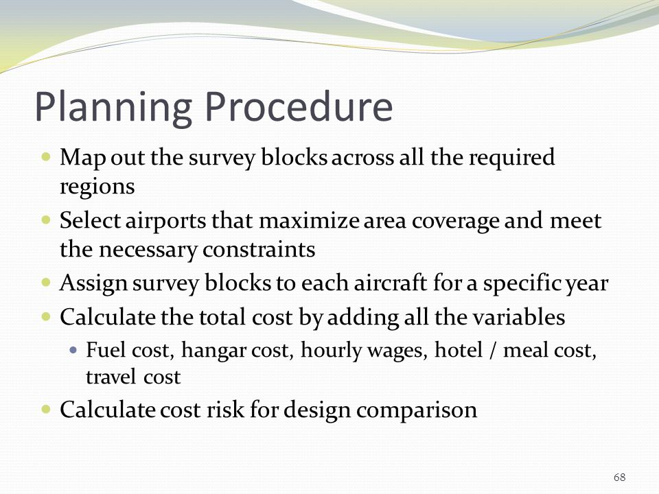 Planning Procedure Map out the survey blocks across all the required regions.