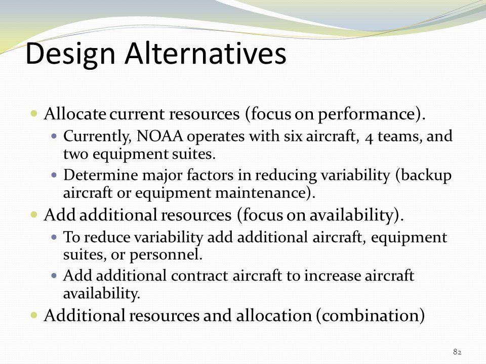 Design Alternatives Allocate current resources (focus on performance).
