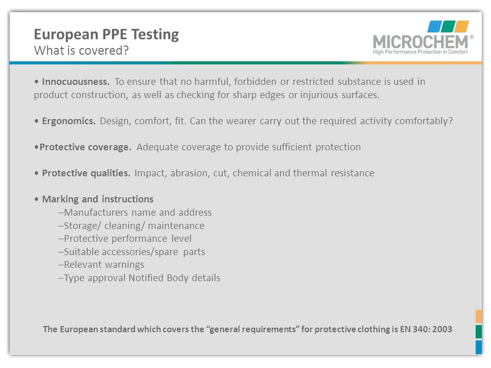 European PPE Testing What is covered