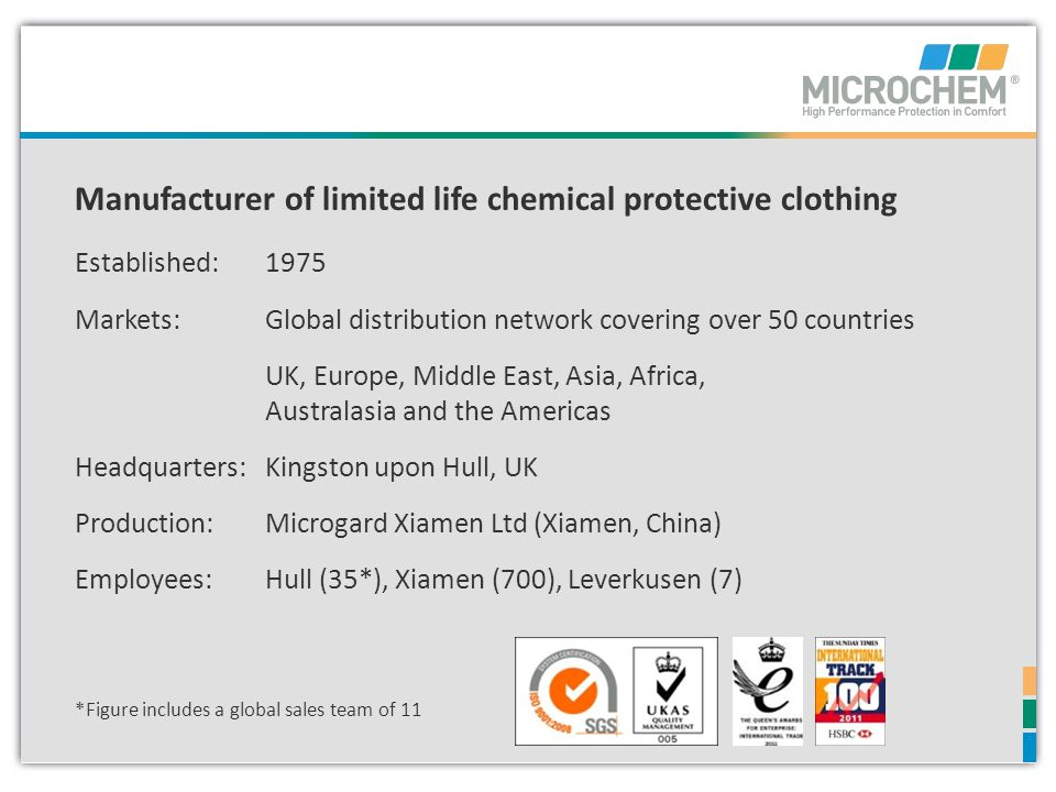 Manufacturer of limited life chemical protective clothing