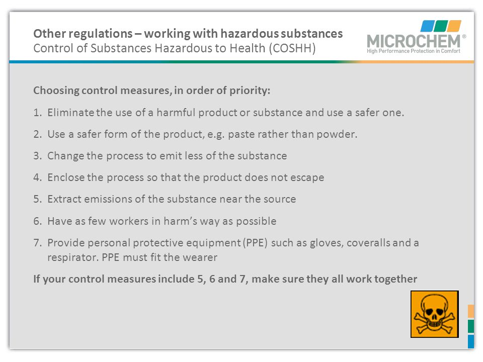 Other regulations – working with hazardous substances