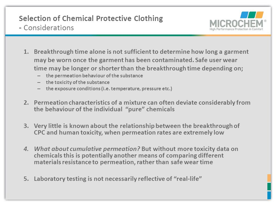 Selection of Chemical Protective Clothing - Considerations