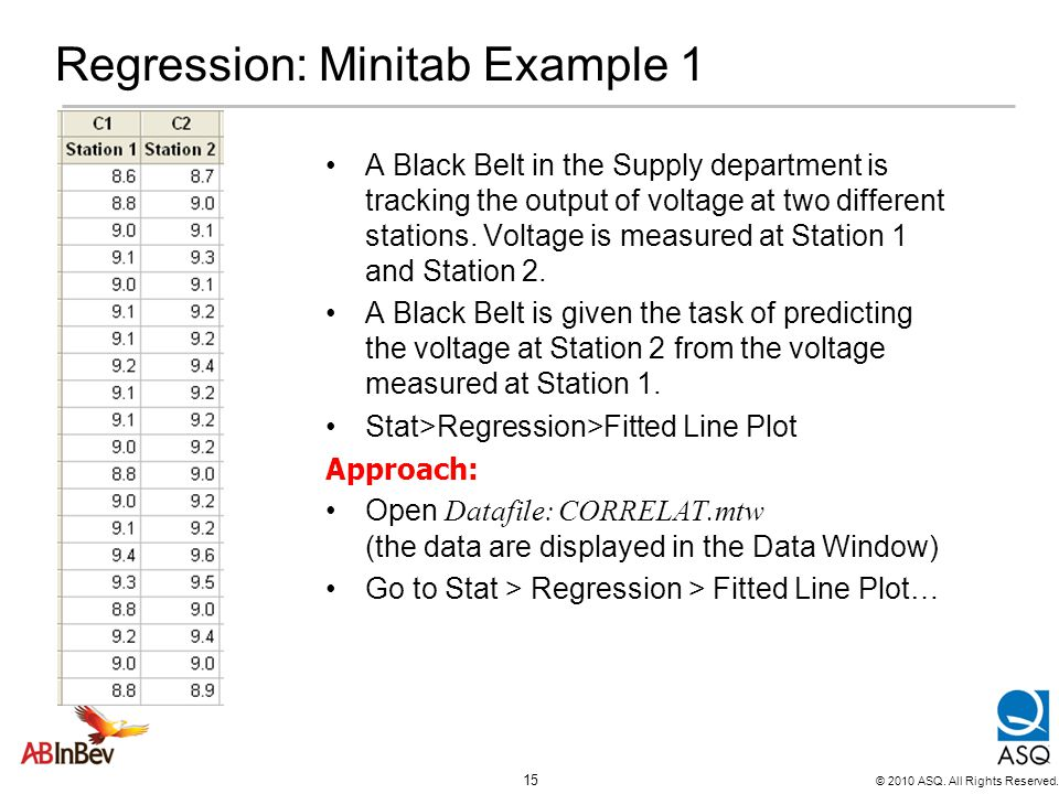 Regression: Minitab Example 1