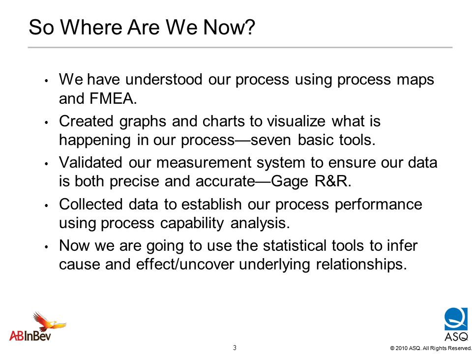 So Where Are We Now We have understood our process using process maps and FMEA.