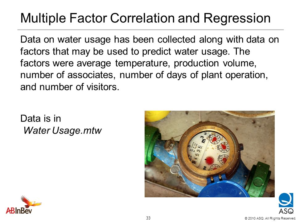 Multiple Factor Correlation and Regression