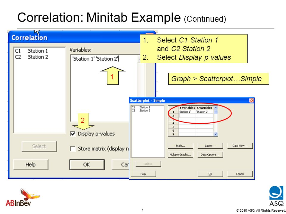 Correlation: Minitab Example (Continued)