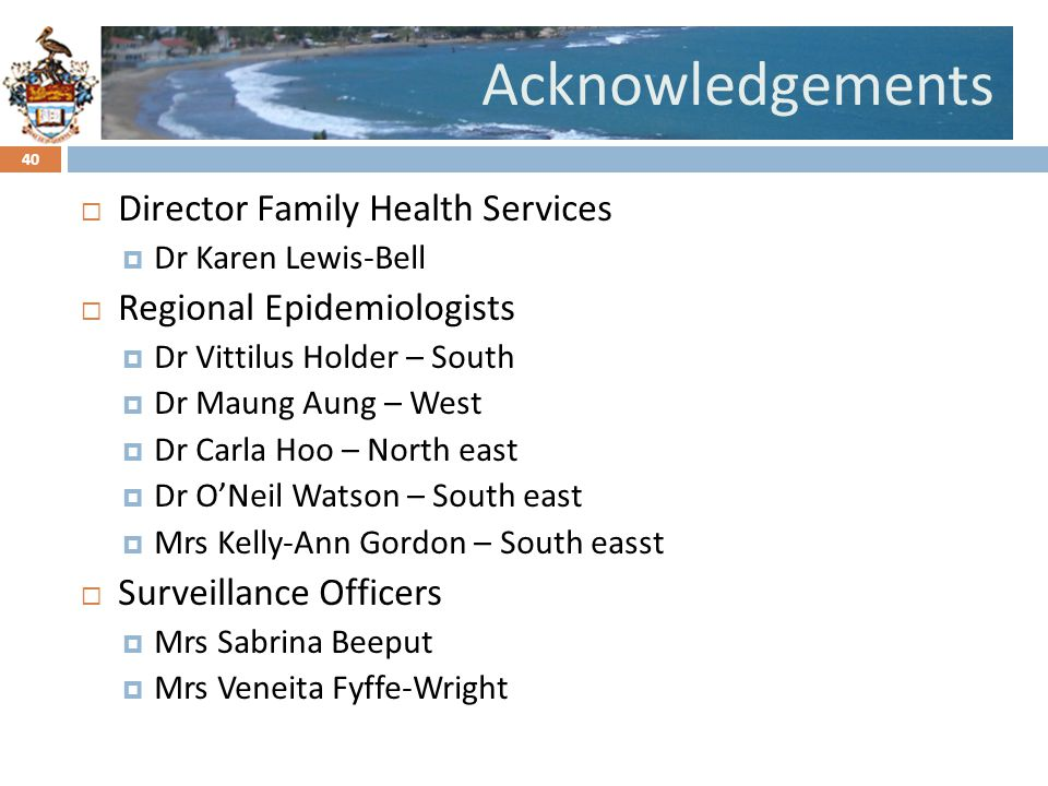 Acknowledgements Director Family Health Services