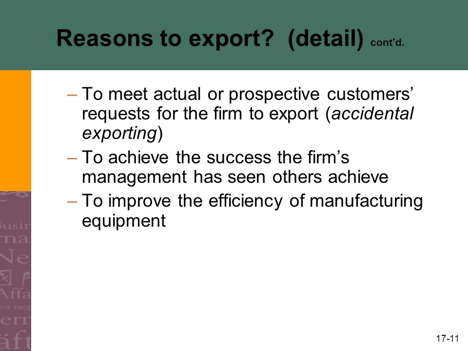 Reasons to export (detail) cont'd.