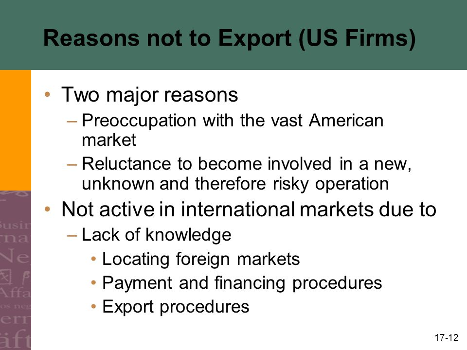 Reasons not to Export (US Firms)