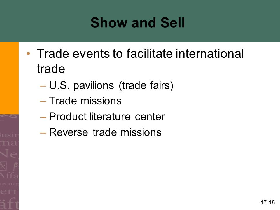 Show and Sell Trade events to facilitate international trade