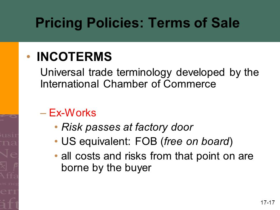 Pricing Policies: Terms of Sale