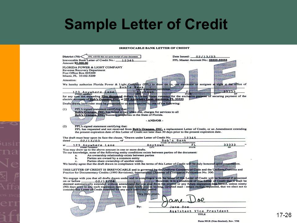 Sample Letter of Credit
