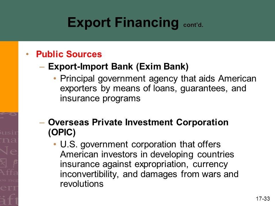 Export Financing cont'd.