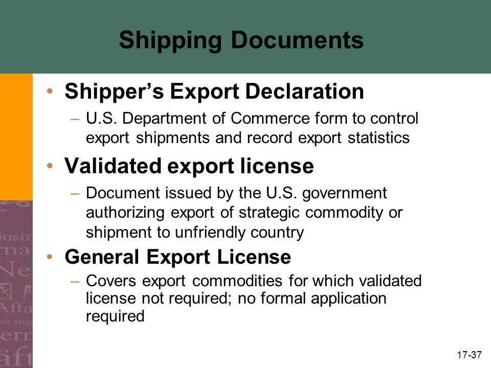 Shipping Documents Shipper's Export Declaration
