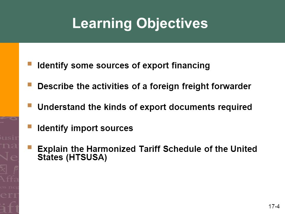 Learning Objectives Identify some sources of export financing