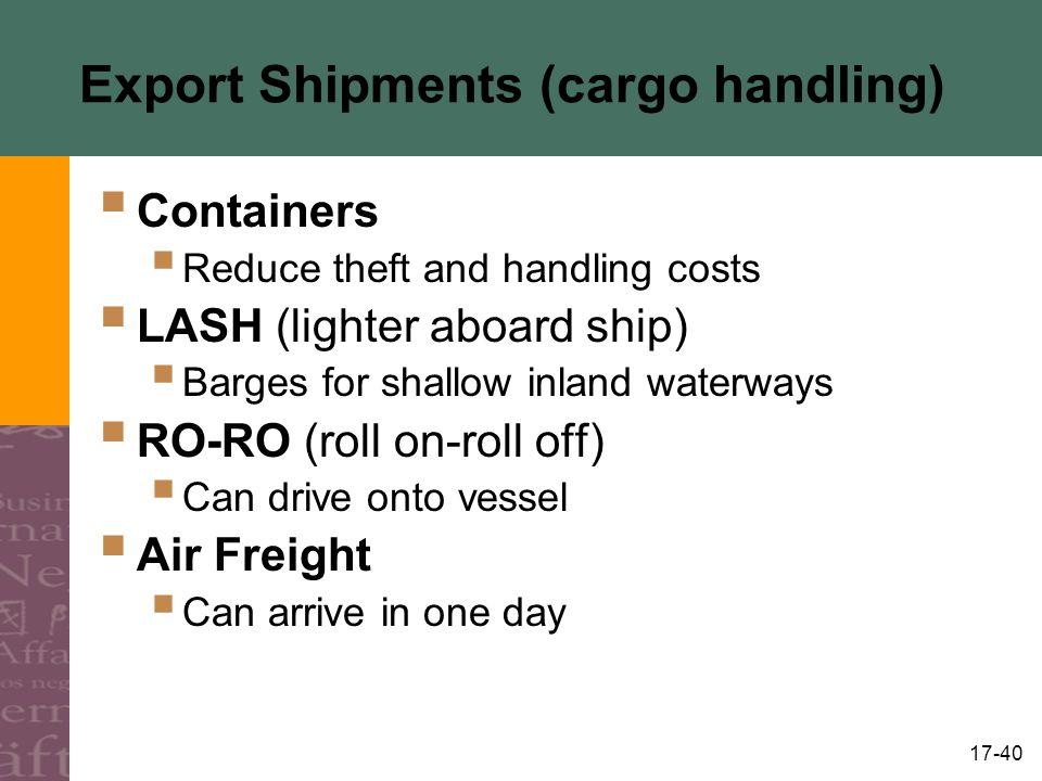 Export Shipments (cargo handling)
