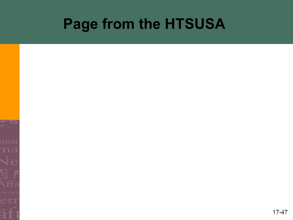 Page from the HTSUSA