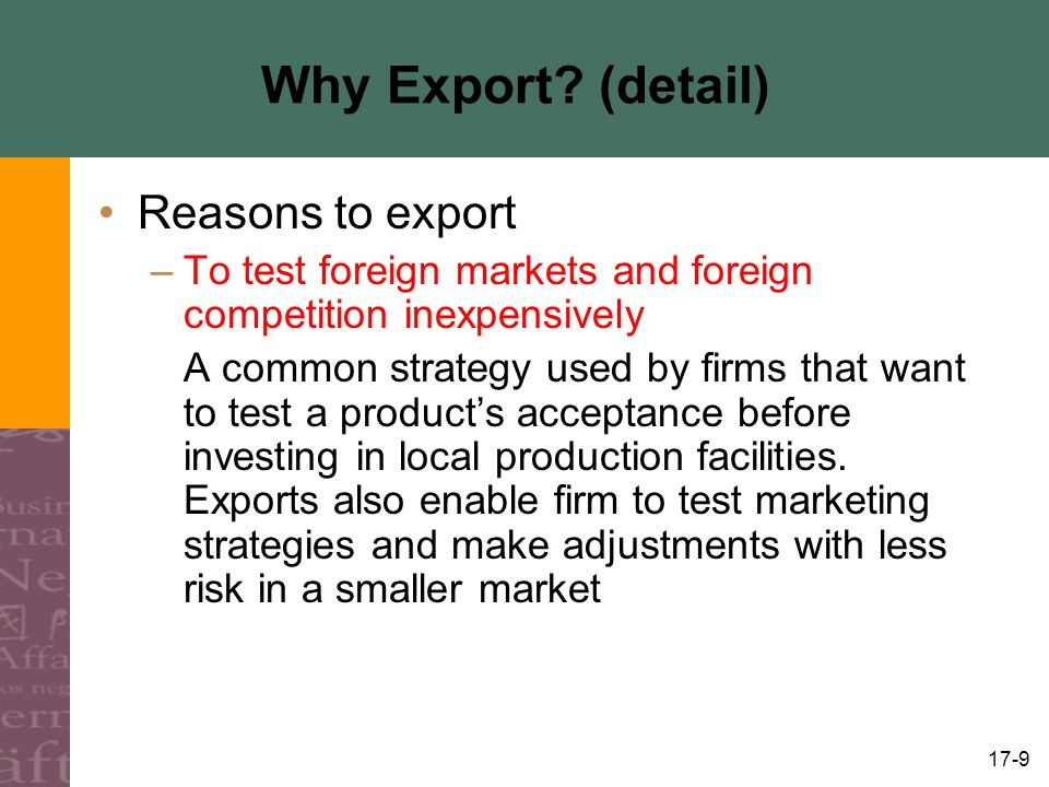 Why Export (detail) Reasons to export