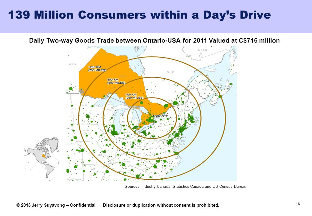 139 Million Consumers within a Day's Drive