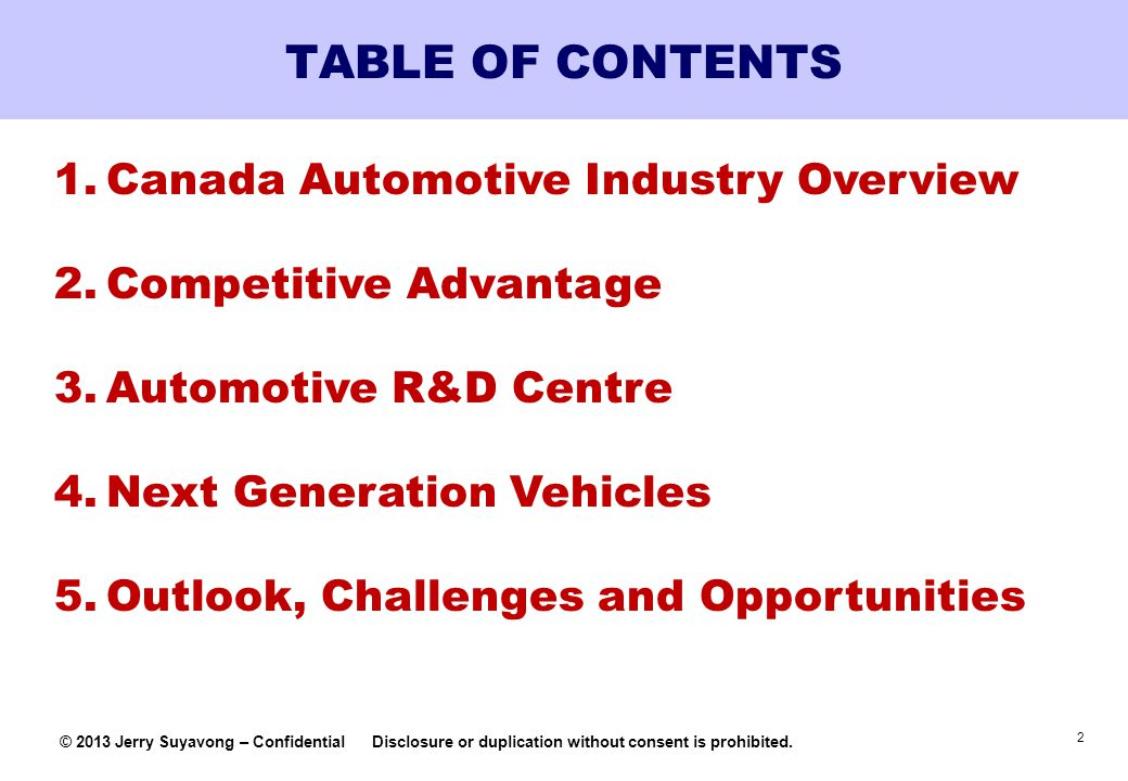 TABLE OF CONTENTS Canada Automotive Industry Overview