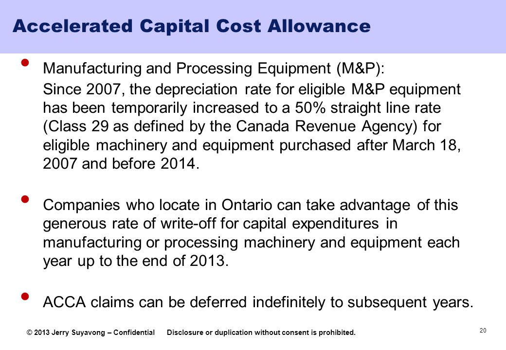 Accelerated Capital Cost Allowance