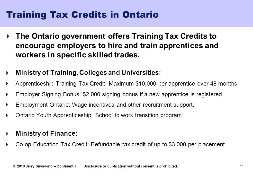 Training Tax Credits in Ontario