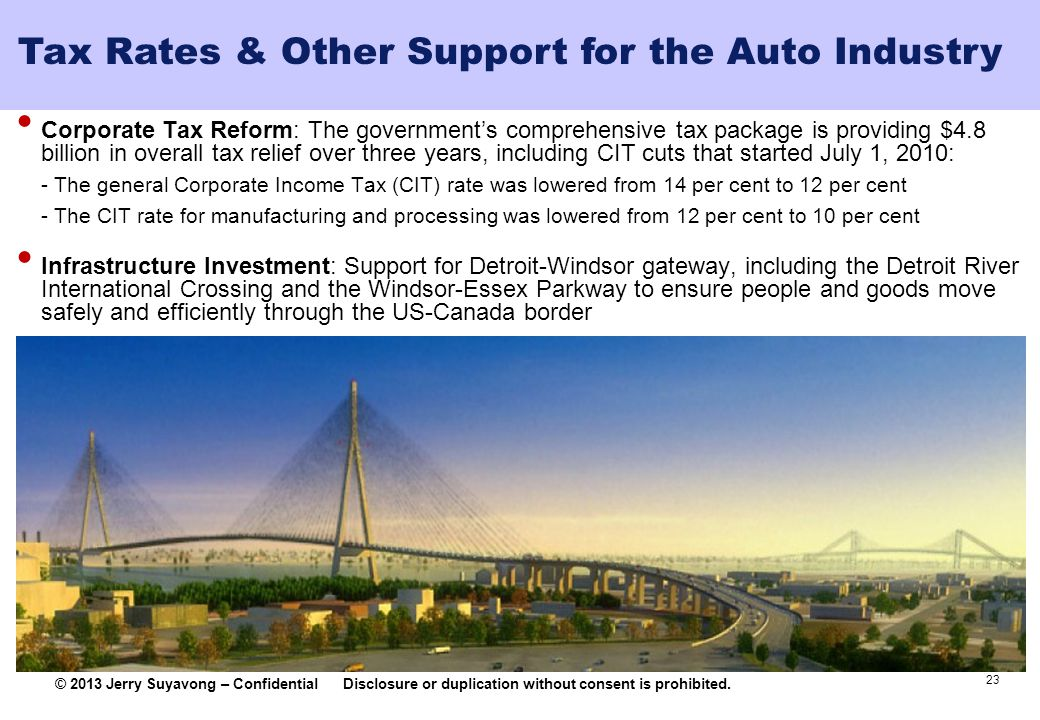 Tax Rates & Other Support for the Auto Industry
