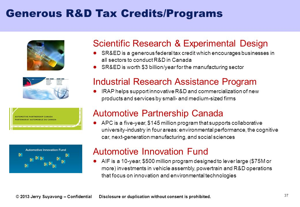 Generous R&D Tax Credits/Programs