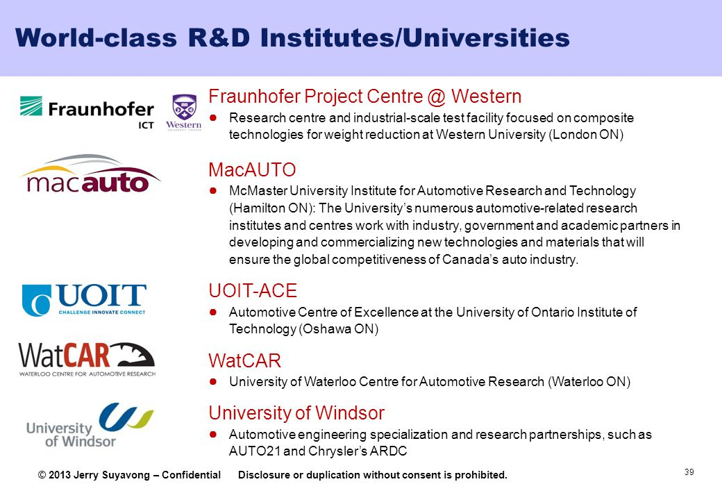 World-class R&D Institutes/Universities