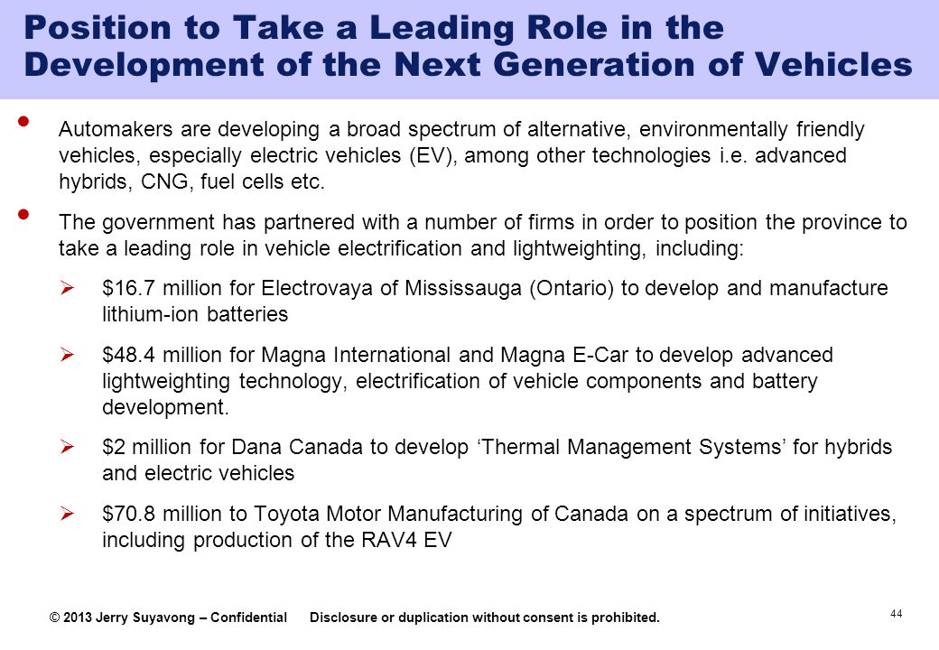 Position to Take a Leading Role in the Development of the Next Generation of Vehicles