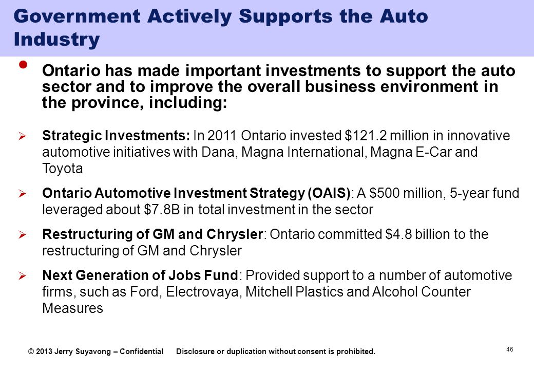 Government Actively Supports the Auto Industry