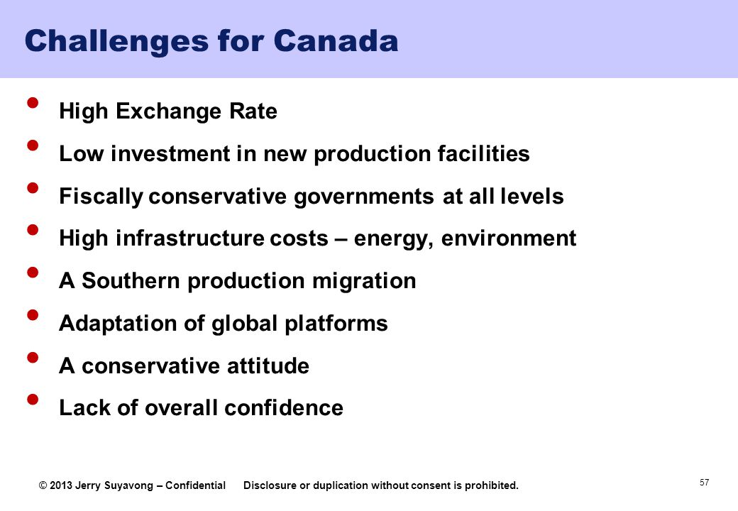 Challenges for Canada High Exchange Rate