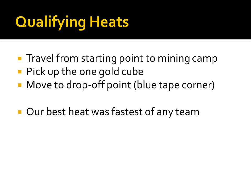 Qualifying Heats Travel from starting point to mining camp