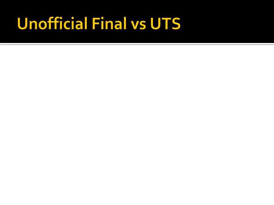 Unofficial Final vs UTS