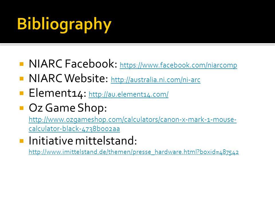 Bibliography NIARC Facebook: https://www.facebook.com/niarcomp