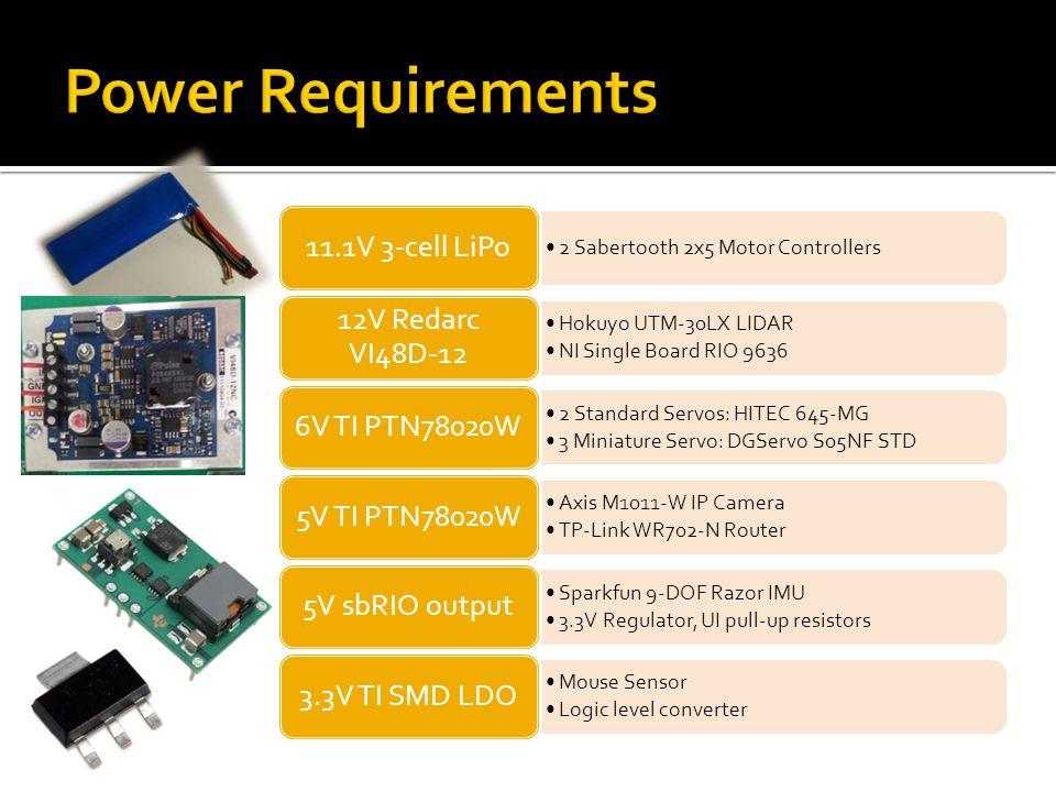 Power Requirements 11.1V 3-cell LiPo 12V Redarc VI48D-12