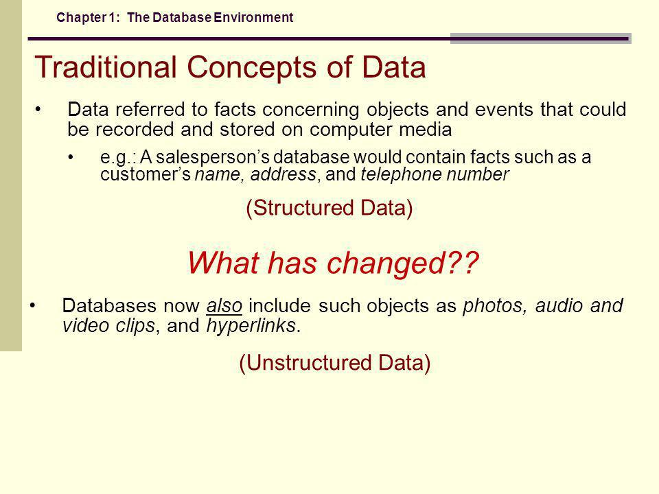 Traditional Concepts of Data