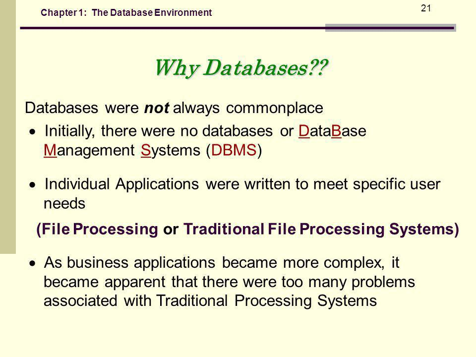 (File Processing or Traditional File Processing Systems)