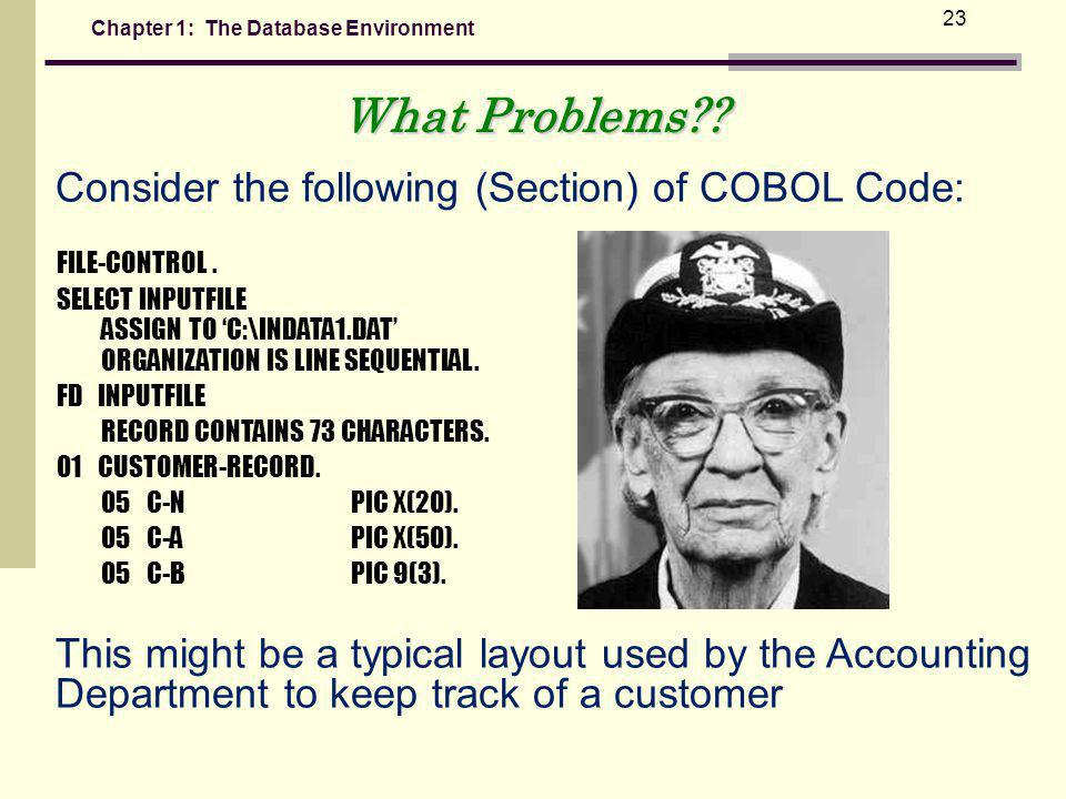 What Problems Consider the following (Section) of COBOL Code: