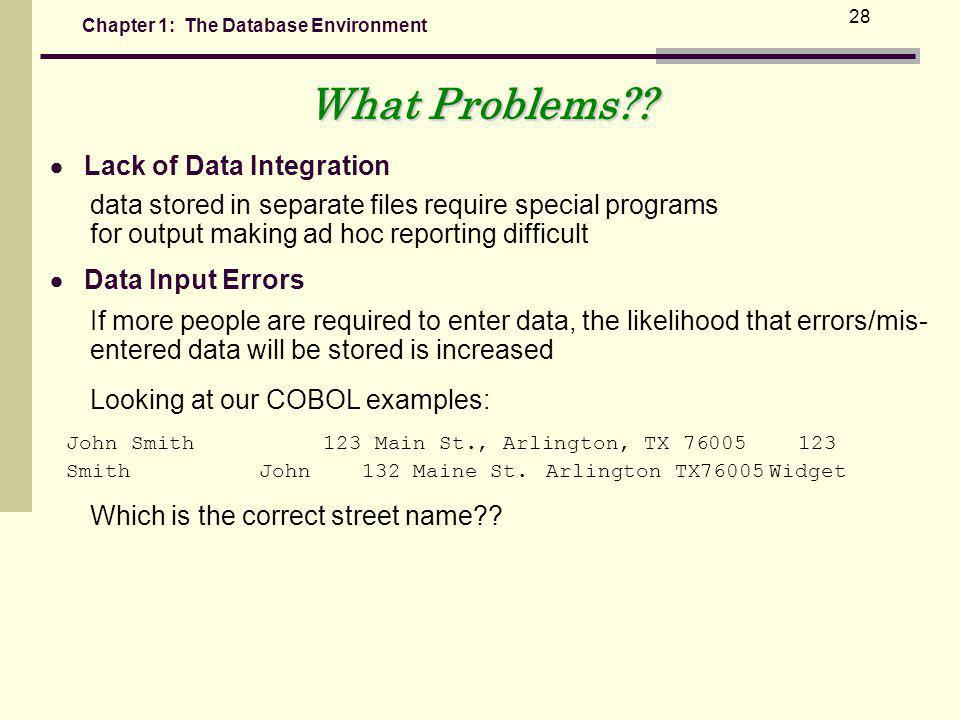 What Problems  Lack of Data Integration